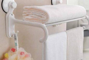 High quality Bathroom Towel Rack/Shelf with magic Sunction Cup, 5 crossbars and 2 hooks.