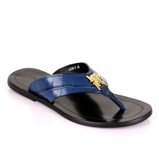 Roberto Cavali Blue Simplicity Leather Slippers
