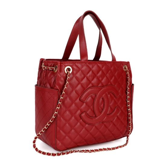 Red CHANEL GST Grand Shopping Chain Tote Bag Caviar Leather Red