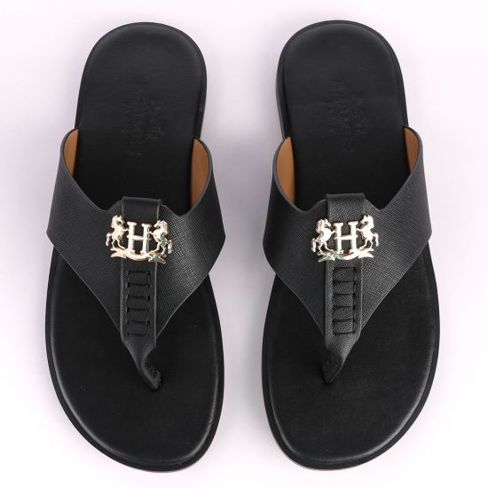 Hermes Paris With Logo Black Leather Slippers