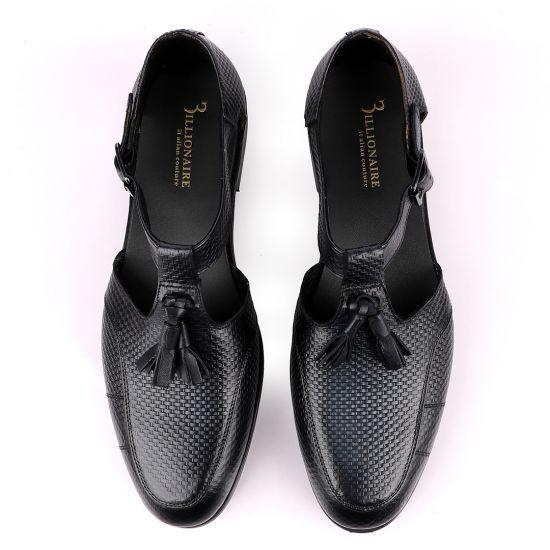 Billionaire Exotic Black Weaven Deep Blue with Tassel Cover Leather Sandal