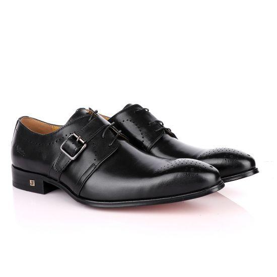 John Foster Plain Black Single Strap Buckle Oxford Shoe