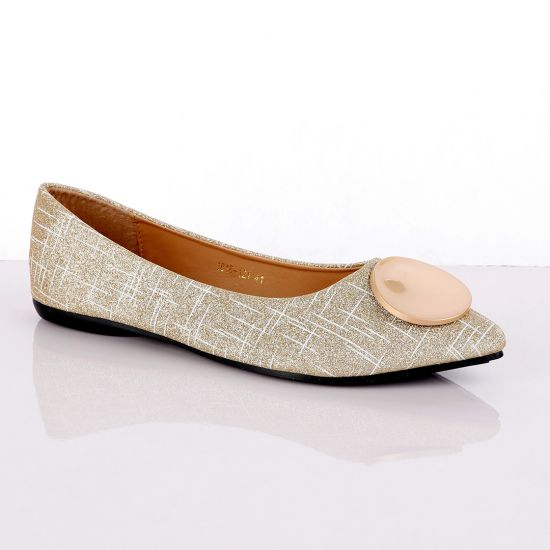 Fashionable Classic Champagne Gold Women's Flat Shoe