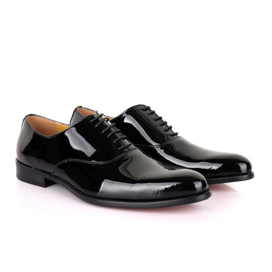 John Mendson Black Wetlips Derby Lace up Loafers