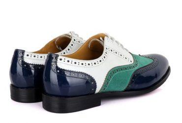 John Mendson Blue Green Suede White Oxford Shoe