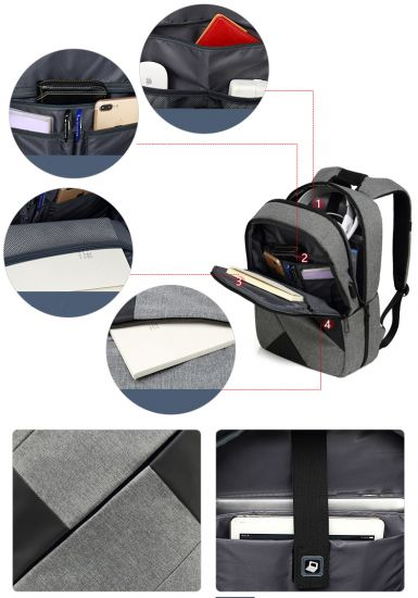 Business Travel Backpack-Grey USB Charging Laptop Briefcase Business Travel Backpack-Grey