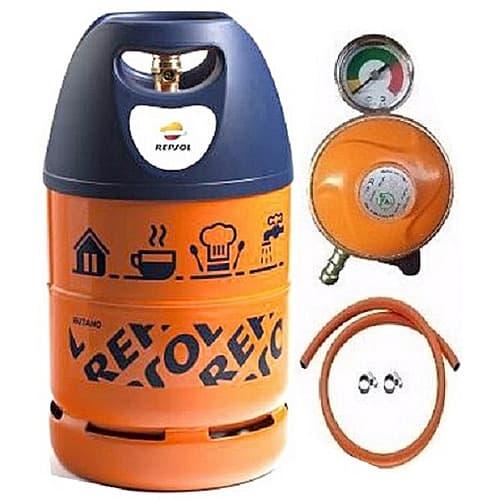 12.5kg Butano Gas Cylinder, Metered Regulator, Hose & Clips