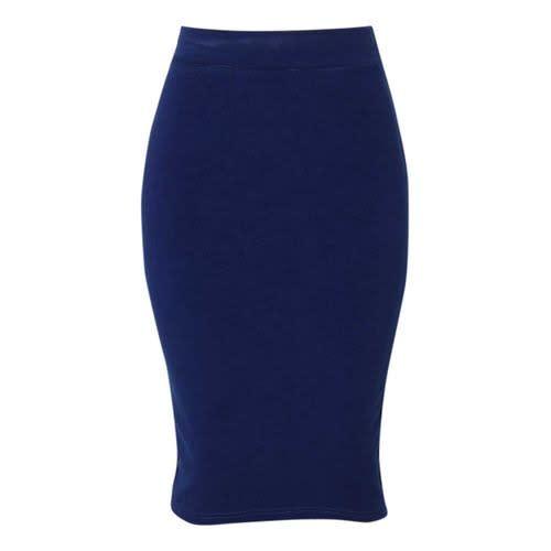 Blue Bodycon Pencil Knee Length Skirt