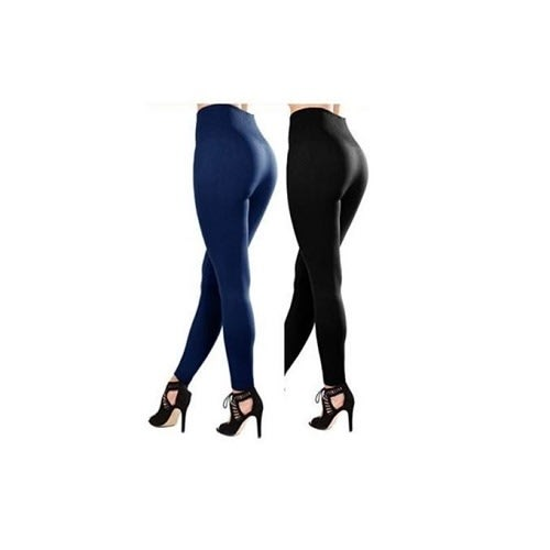 High Waist Slimming Leggings – Black & Blue – Set Of 2