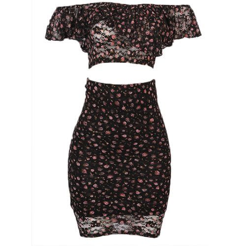Must Have Lacey Floral Crop Top And Skirt Set