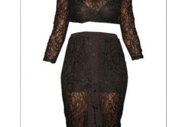 Emfed Sheer Lace Crop Top With Midi Split Skirt – Black