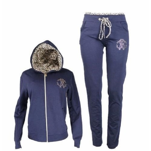 Roberto Cavalli 2-piece Tracksuit Hoodie And Pant Set – Blue