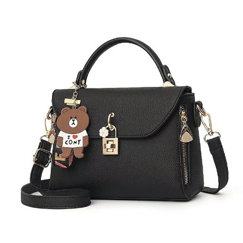 Fastshipping Messenger Handbag With Fashion Key – Black