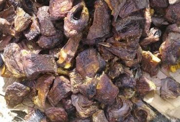Dry fried and roasted ponmo and dry fish