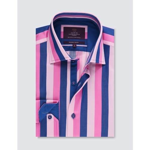 Hawes & Curtis Men's Curtis Pink & Blue Multi Stripe Slim Fit Shirt With Contrast Detail – Single Cuff