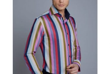Hawes & Curtis Men's Curtis Multi Colour Stripe Slim Fit Shirt – High Collar – Single Cuff