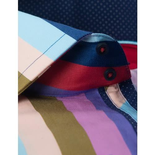 Hawes & Curtis Men's Curtis Multi Colour Stripe Slim Fit Shirt – High Collar – Single Cuff