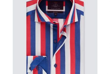 Hawes & Curtis Men's Curtis Blue & Red Bold Stripe Slim Fit Shirt – High Collar – Single Cuff