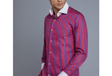 Hawes & Curtis Men's Curtis Purple & Pink Bold Stripe Slim Fit Shirt – Single Cuff