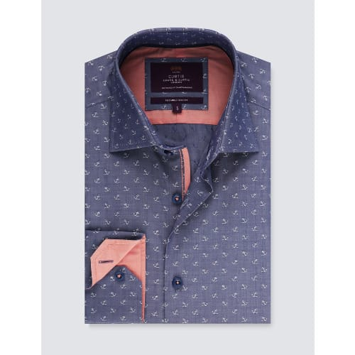 Curtis Anchor Print Slim Fit Shirt With Contrast Detail – Single Cuff – Blue & White