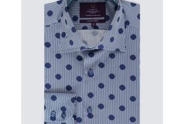 Hawes & Curtis Men's Curtis Stripes & Spots Print Slim Fit Shirt – Single Cuff – Navy & White