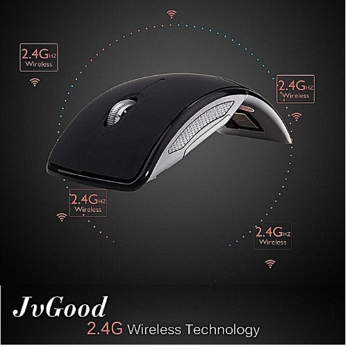 Folding Arc Optical Mouse With Usb Receiver For Pc Laptop