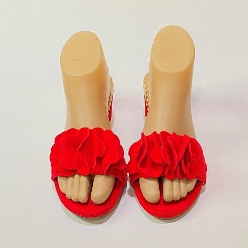 Inaya Heeled Slippers – Red