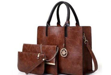 Ladies 3 In 1 Retro Shoulder PU Leather Handbags – Brown