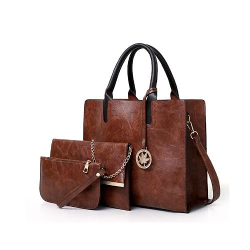 Ladies 3 In 1 Retro Shoulder PU Leather Handbags – Brown
