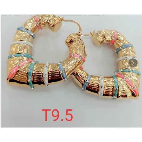 Real Gold Plated Exaggerated Multi Color Hoop Earrings.