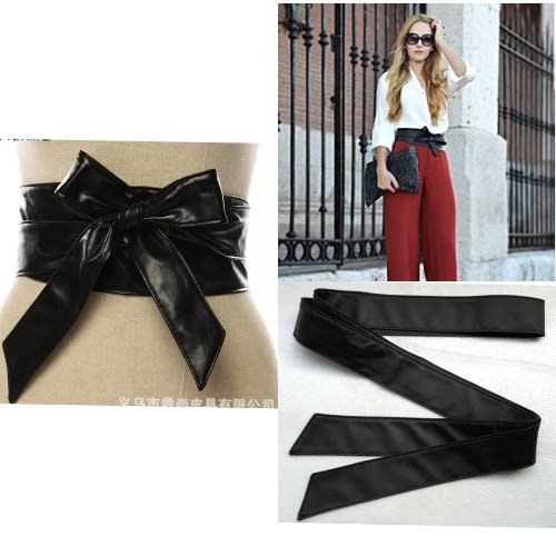 Fashion By LV Bow Style Women Leather Belt- Black
