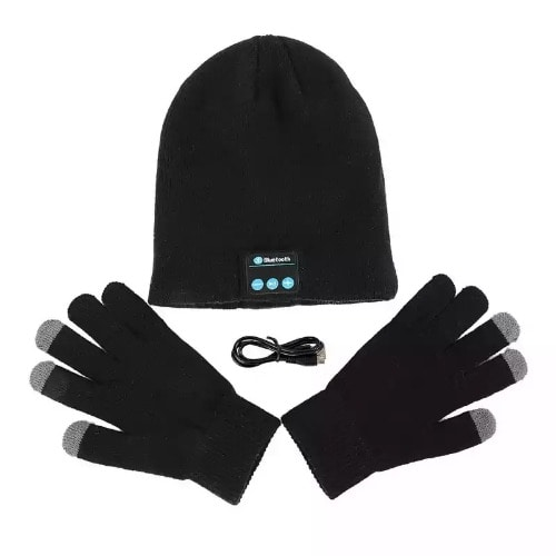 Wireless Bluetooth Music Hat With Earphone & Mic + Free Touch Gloves – Black