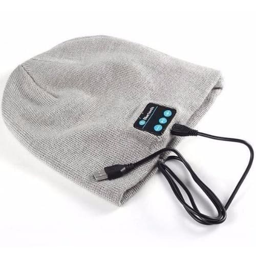 Wireless Bluetooth Music Hat With Earphone & Mic + Free Card Reader – Grey