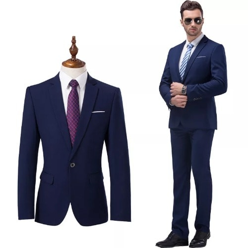 2 Piece Suit (jacket+pants) Navy Blue Men Wedding Suit -Male Blazers Slim Fit Suits For Men