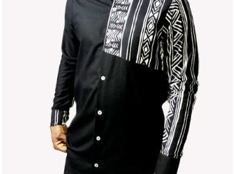 Pattern Long Sleeve Shirt – Black