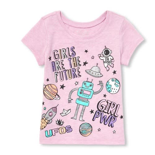 Girls Short Sleeve 'girl Squad' Graphic High-low T-shirt