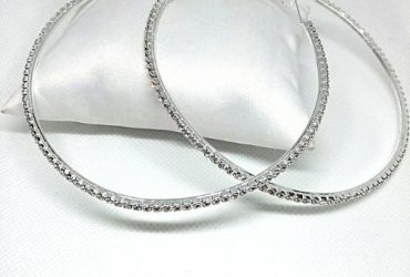 Rhinestone Large Circle Hoop Earrings 10cm