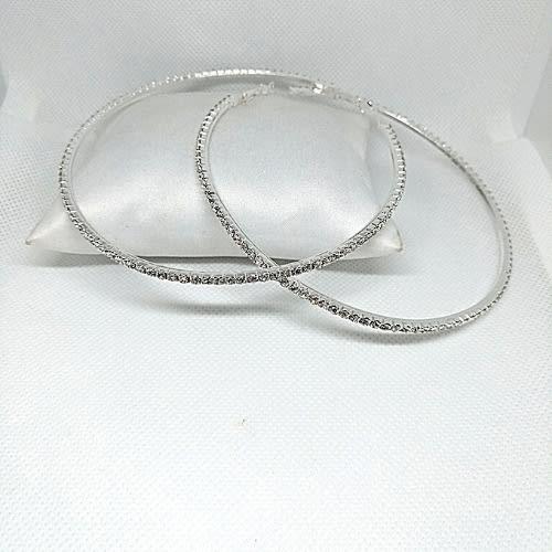 Rhinestone Large Circle Hoop Earrings 10cm