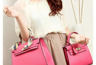 Stunning Padlock Birkin Inspired With Scarf – Light Pink