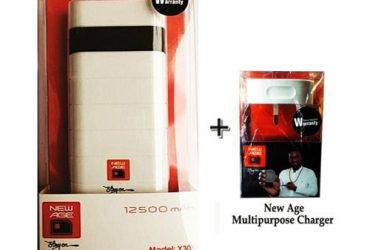 New Age 12500mAh Power Bank + One Free New Age Multipurpose Charger
