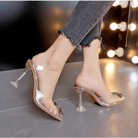 Ladies Transparent Hill Doted Sandals