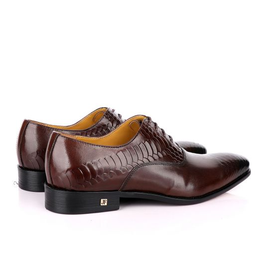 John Foster Oxford Half Croc Laceup Coffee wingtip Leather Shoes