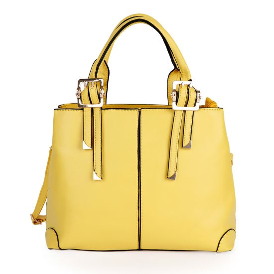 Kattee Style Genuine Leather Tote Bag Yellow
