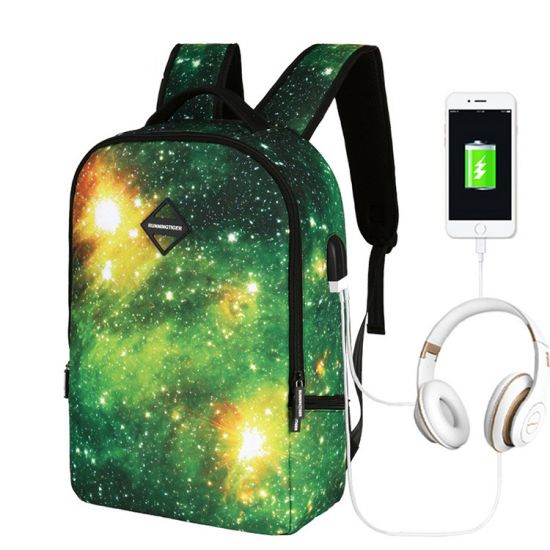 Running Tiger Multicolored With Usb charging Port and Auxillar Tiger Multicolored With Usb charging Port and Auxillary Backpack Bags