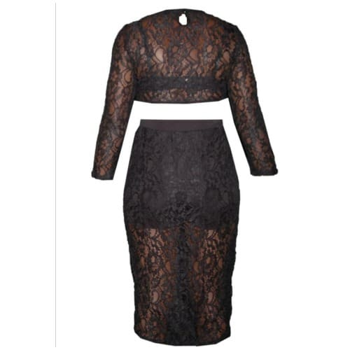 Emfed Sheer Lace Crop Top With Midi Split Skirt – Black