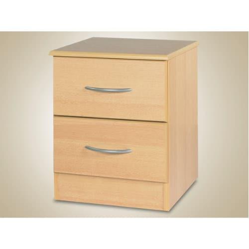 2 Drawer Bedside Wooden Storage Cabinet