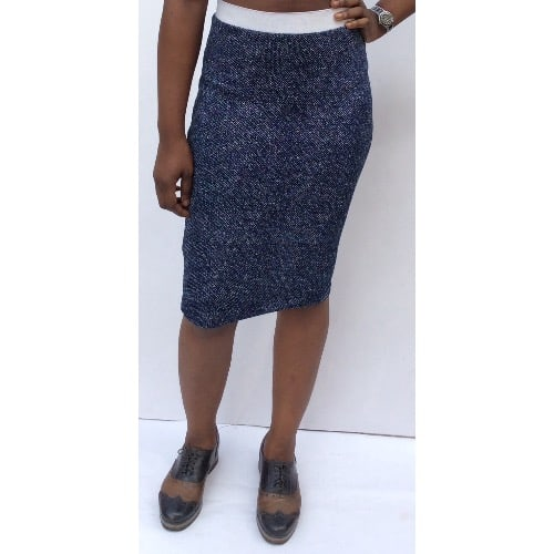 Sos Culture Knitted Stretch Skirt With White Band – Blue
