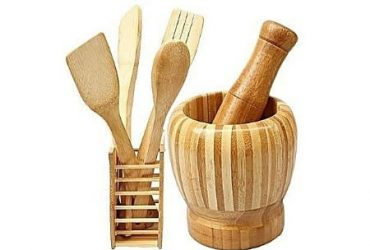 Universal Chef Wooden Spoons Set & Portable Mortal & Pestle