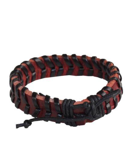 Leather Bracelet Bangle Cuff Rope Black Adjustable Surfer Wrap -Brown