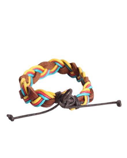 Colorful Unisex Woven Wristband Bracelet Leather